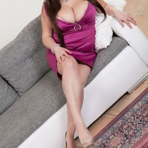Brunette MILF Monica Enjoy letting big breasts free from hooter-slings and dress in high heeled shoes