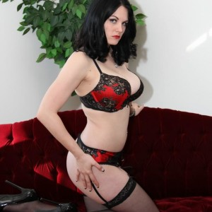 Brunette wife Shae Fatale hog binds her male before stripping to her lingerie and heels