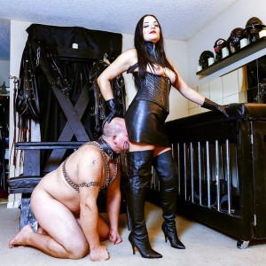 Dark haired doll Michelle Lacy dominates her subby spouse submissive in hip highs