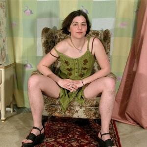 European amateur Gypsy showcasing pierced hard nipples, unshaven underarms and hairy bush
