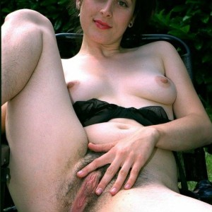 European brown-haired amateurs demonstrate hairy underarms and snatches in the backyard