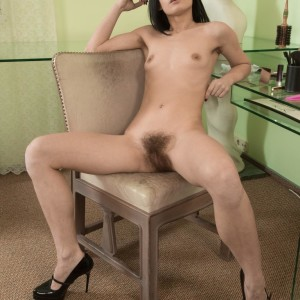 European dark haired Gerda May whipping out small titties and unshaven twat in pumps