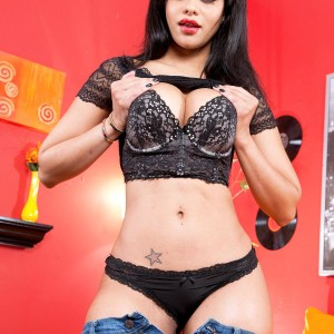 Fabulous black-haired Latina Mary Jean unveiling fleshy ass from black underwear and denim jeans