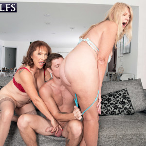 Grannie pornographic star Luna Azul and a nan buddy of hers disrobe and suck a younger man