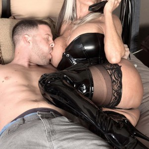 Hefty breasted 60 plus MILF Sally D'Angelo drains a cock in latex boots and ebony corset