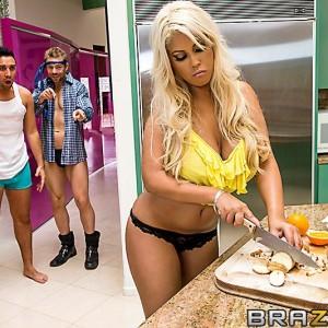 Humungous jugged Latina MILF Bridgette B banging TWO dudes with immense pricks at same time