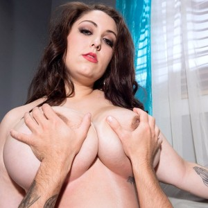 Marvelous plus sized female Allie Pearson breast throttling dude with her giant boobs