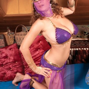 MILF XXX pornstar Valory Irene modeling invitingly non naked in harem female uniform