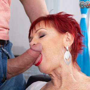 Old ginger-haired Caroline Hamsel fellates and ravages a stud after he catches her masturbating