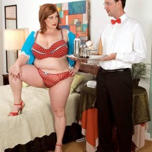 Over weight redhead X-rated actress Nikki Cars seducing man for sex after hand job and ORAL JOB mixture