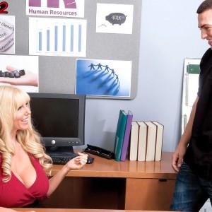 Platinum-blonde manager doll Karen Fisher revealing hefty boobies while seducing employee