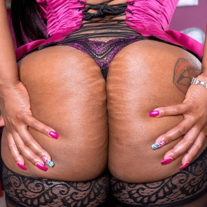 Plus sized ebony solo girl Virgin Blossoms showing off monster-sized ass in hosiery and lingerie