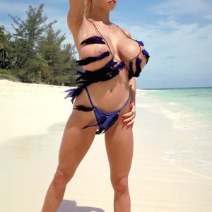 Prominent golden-haired XXX star Tiffany Towers vaunting funbags outdoors on beach