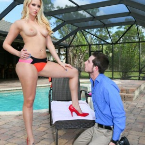 Spindly blond mistress Vanessa Cell makes her husband wear a collar while worshipping her