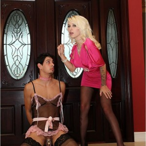 Tempting ash-blonde girlfriend Victoria puts her sissy husband Stevie into lingerie and nylons