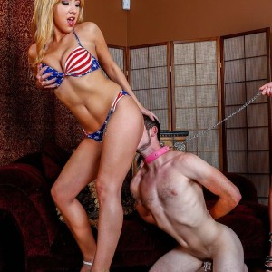 uber-sexy blondes Mickey Tyler and Kelly Paige dominate a masculine sub in USA themed swimsuits