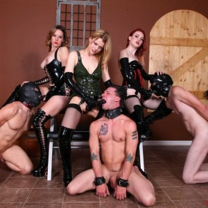 3 gf gals screw male slaves in the mouth and ass with strap on dicks