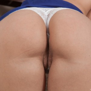 Blonde first-timer Jehanna frees her sweet bum and smooth-shaven twat from lace skivvies