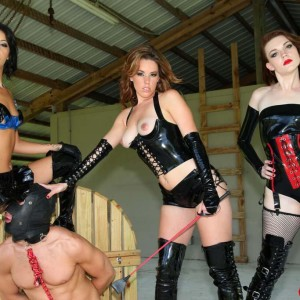 Domineering type damsels Lizzie and Esmi hookup with Deanna to dominate a hooded masculine