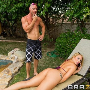 Huge butted golden-haired AJ Applegate gets rump boned while on a lounge stool in a yard