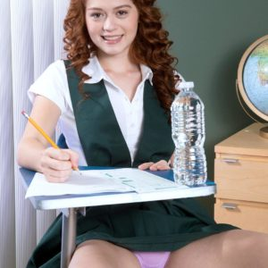 18 red-haired Alice Lime green strips nude during her coed inspects
