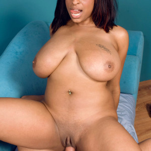 Big-boobed ebony chick Carmen Hayes breast plumbs and rides a massive dick during POV action
