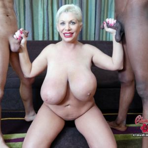 Gigantic breasted platinum golden-haired Claudia Marie takes on gigantic white and ebony hard-ons at once