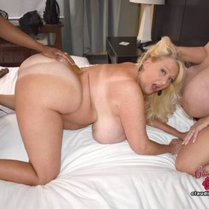 Huge tittted platinum golden-haired Claudia Marie takes part in heterosexual and lezzie sex