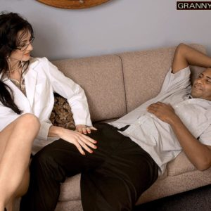 Killer senior lady Lake Russell tempts a man with a giant black dick in his pants