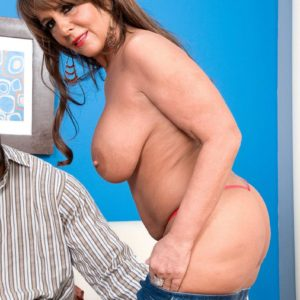 Phat grandma Cassidy has her monster-sized tits fumbled while a ebony man unclothes her