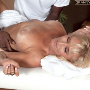 Platinum-blonde granny Brittney Snow gets seduced by her black rubdown therapist