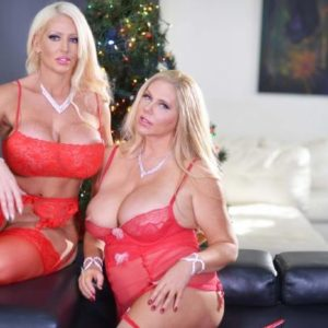 Thick golden-haired lady Karen Fisher and her lezzy wife model lingerie at X-mas