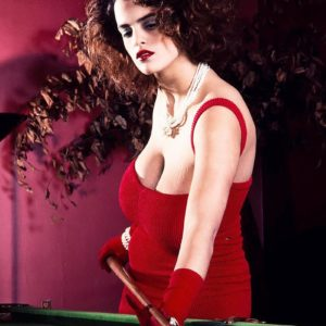 X-rated actress Nilli Willis reveals her giant titties on pool table in crimson gloves and dress