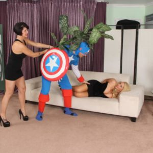 Chesty blonde Karen Fisher engages in lezzy sex before a 3some with a fully clothed guy