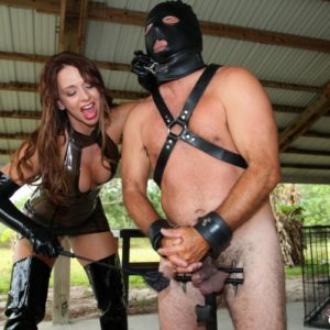 Dominant female Brianna and a two other dressed mistresses put masculine submissives away in their cages