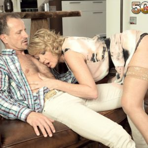 Elder blonde gal gets around to providing a oral sex after foreplay in stockings
