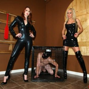 Spectacular chicks Zoey and Kendra tease a masculine slave's hard penis before locking him in a box