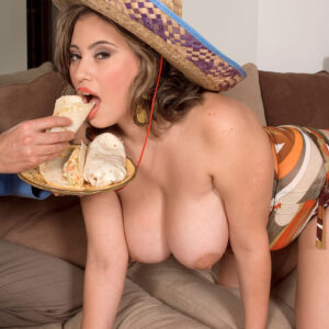 Giant boobed Latina girl Selena Castro plays with a dick while eating food