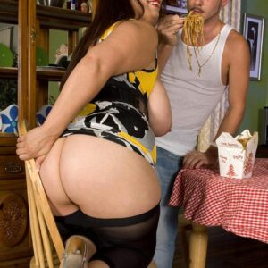 Dark haired feeder Rikki Waters looses her enormous ass and breasts before tonguing a cock in pumps