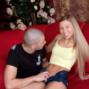 Scarcely legal platinum-blonde Nastya is disrobed before getting on top of a dick