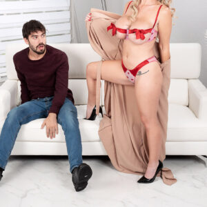 Provocative blond Casca Akashova entices her next-door neighbour in a sexy bra and panty set