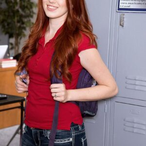 Redhead college girl is unclothed before snatch eating by her schoolteacher in a classroom