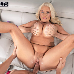 Big-titted older blonde Maddie Cross has oral and vaginal sex with a giant penis POV style