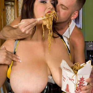 Giant boobed fatty Rikki Waters gives oral sex while chowing down on Chinese grub