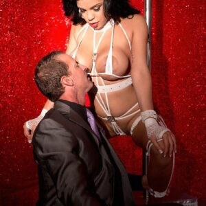 Busty dark haired stripper Savana Ginger face sitting a man in pumps and lingerie