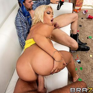Latina pornographic star Bridgette B sucking 2 humungous hard-ons before a gonzo themed DP and a cumshot