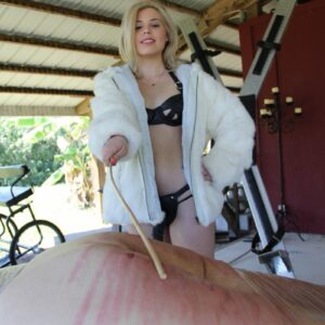 Pornstar Isobel Raven and a latex boot garbed mistress humiliate a restrained male sub
