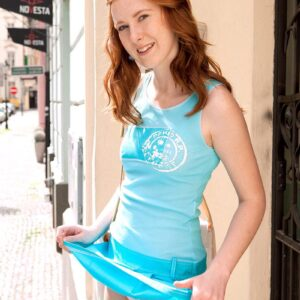Ginger-haired first timer Linda Sweet flashing upskirt skivvies outdoors before pulling out her lil' tits